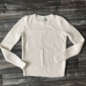 LOFT Cream Ivory White Cable Knit Sweater Lace